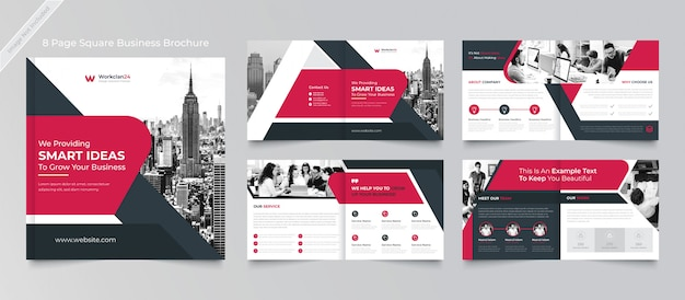 Pages corporate square brochure design template premium