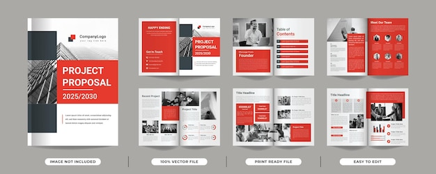 Pages of minimalist multipage red colour project proposal brochure template design with cover page