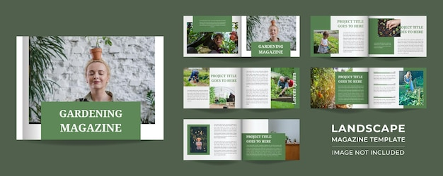 Pages of multipurpose minimalist green gardening magazine design or lookbook design with cover page