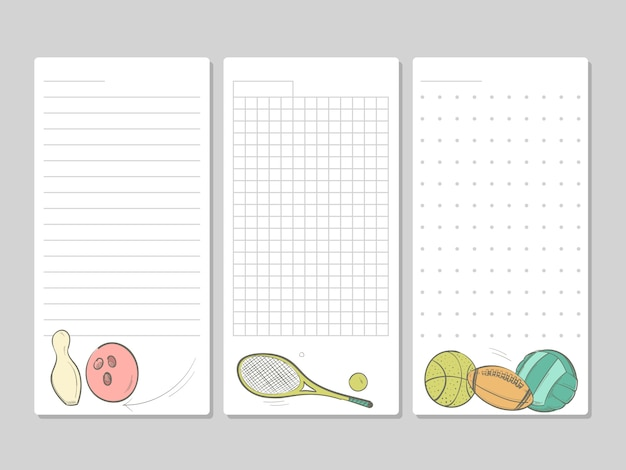Pages for notes, memo or to do lists with doodle sport equipment
