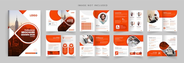 Pages profile brochure template layout design orange color shape minimalist business brochure