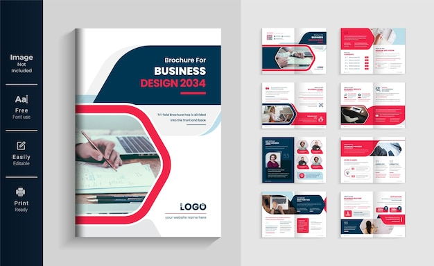 Pages profile brochure template layout design red color shape minimalist company business brochure