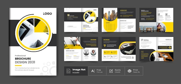 Pages profile brochure template layout design yellow shape minimalist corporate business brochure