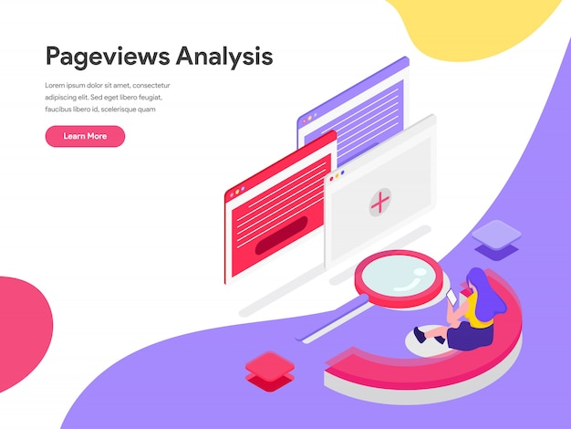 Pageviews analysis isometric illustration concept