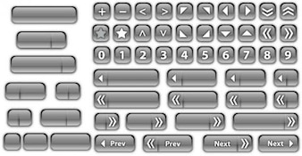 Pagination buttons with gloss in gray color