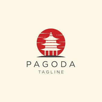 Pagoda japan temple logo icon design template   illustration