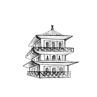 Pagoda japanese temple. vintage hatching black illustration