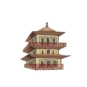 탑 일본 사원 빈티지 벡터 해칭 컬러 일러스트 흰색 배경에 고립