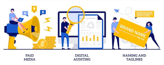 Paid media, digital auditing, naming and taglines illustration with tiny people
