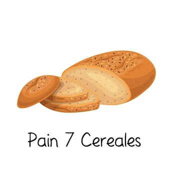 痛み7シリアルパンのアイコン。フランスのベーカリー製品のカラーイラスト。