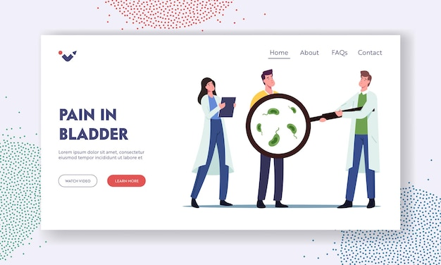 Pain in bladder, urology landing page template. urology system sickness, bladder inflammation. patient visit urologist. man with bacterial urinary tract infection. cartoon people vector illustration