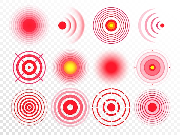 Pain circles. red painful target spot, targeting medication remedy circle and joint pain spots isolated  set