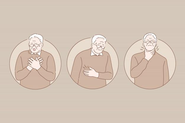 痛み、病気、老後セットコンセプト