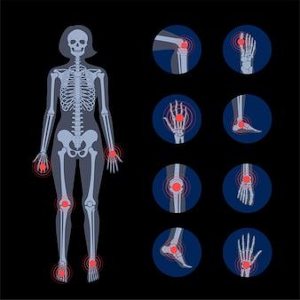 Pain in human body. female skeleton silhouette.