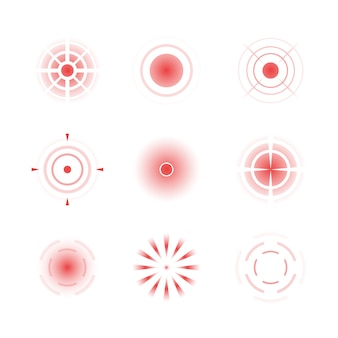 Pain red rings. headache bones painful target vector radial shapes