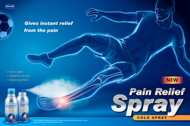 Pain relief spray banner with an injured soccer player, x-ray effect in 3d style
