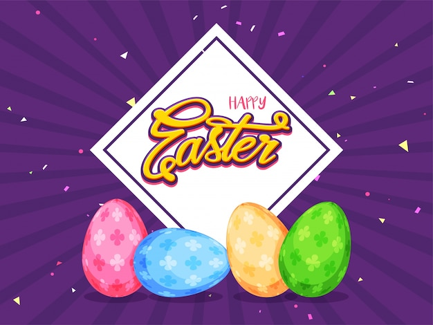 Pained eggs on purple background for happy easter concept