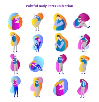 Painful body parts vector illustration collection