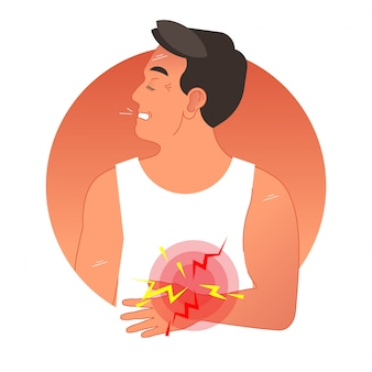 Painful stomach concept vector illustration