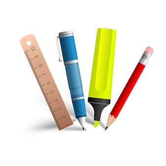Коллекция инструментов для рисования и письма, состоящая из синей ручки, красного карандаша, желтого маркера и деревянной линии на белом
