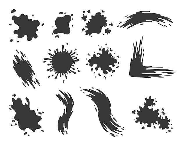 しみをペイントします。デザイン用のスプラッシュセット。カラフルなグランジシェイプコレクション。汚れやシルエット。黒インクが飛び散る。