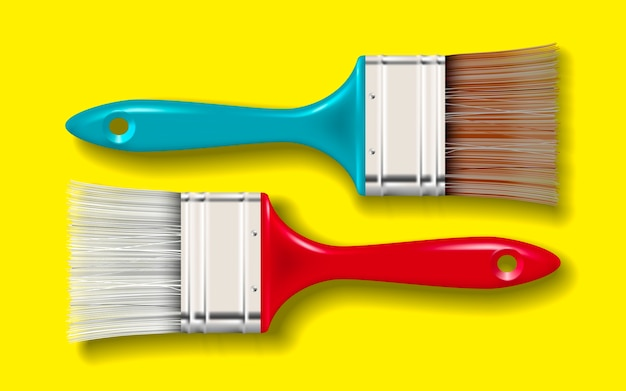 Paint bristle brush with color handle and shadow