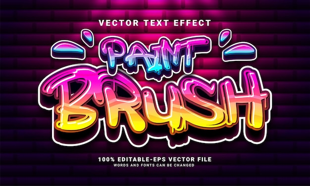 Paint brush 3d text effect, editable graffiti and colorful text style
