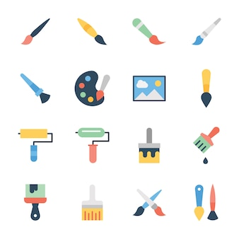 Paint brush flat icons pack