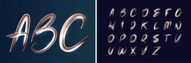 Paint brush glowing alphabet set