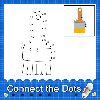 Paint brush kids connect the dots worksheet for children counting number 1 to 20