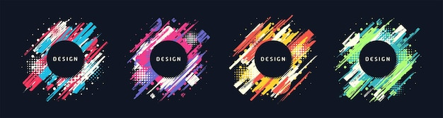 Paint brush promotion template designs, colorful geometric sale banners