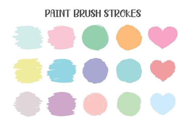 Paint brush strokes set