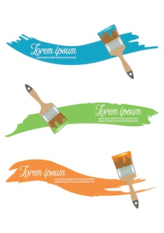Paint brush with paint color in flat style