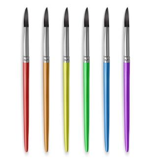 Кисти для рисования разных цветов радуги, набор реалистичных кистей