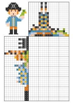 숫자 논리 퍼즐, 노노그램으로 그림을 그립니다. 어린이를 위한 교육 게임, 앵무새와 해적