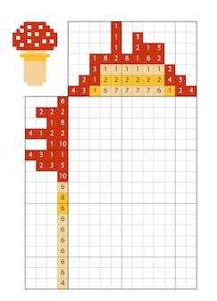 Paint by number puzzle (nonogram), education game for children, amanita mushroom