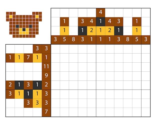 숫자퍼즐(노노그램)으로 색칠하기, 어린이 교육용 게임, 곰