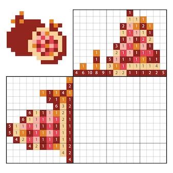 숫자퍼즐(노노그램)으로 색칠하기, 어린이 교육용 게임, 석류