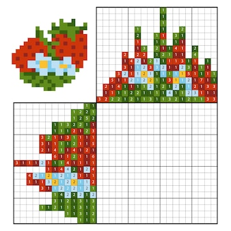 숫자 맞추기 퍼즐(노노그램), 어린이 교육 게임, 딸기