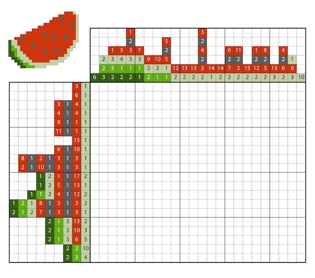 숫자 맞추기 퍼즐(노노그램), 어린이 교육 게임, 수박