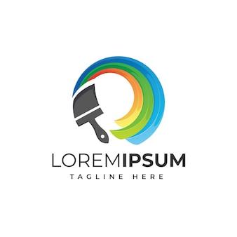 Paint circle colorful logo design premium vector