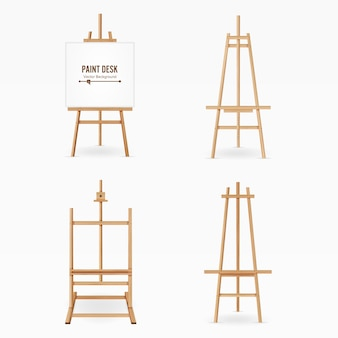 Paint desk vector. wooden easel template with white paper. isolated on white background. realistic painter desk set. blank space for design.