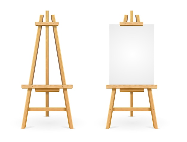 Paint desk and white paper isolated