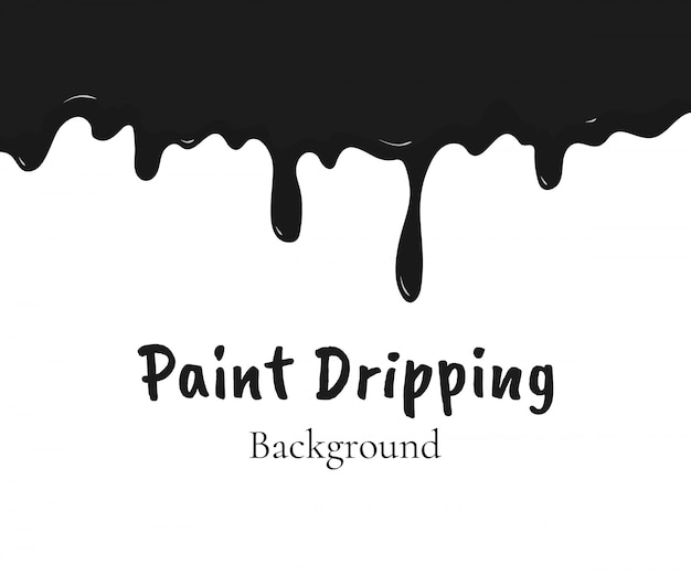 Paint dripping, black liquid or melted chocolate drips