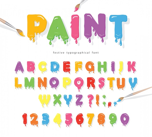 Paint flowing colorful font.