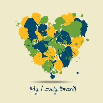 Vernice cuore con i colori del brasile