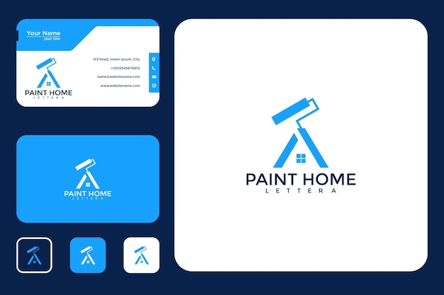 Paint home with letter a logo design and business card