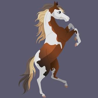 Раскрась лошадь. стоит на задних лапах. симпатичный персонаж лошади для детских иллюстраций.