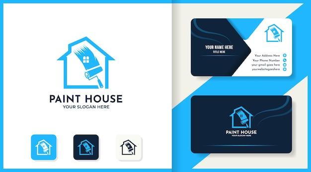 Дизайн логотипа дома краски и визитная карточка