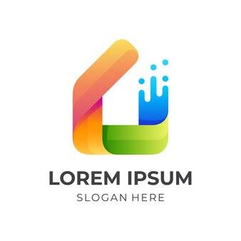 Раскрасьте логотип дома, дом и краска, комбинированный логотип с красочным 3d стилем